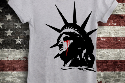 aae4cfffc2332 Lady Liberty Crying Women s Off the Shoulder Slouchy Tee ...