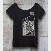 Gender Fluid Shirt. Black Slouchy Off-the-Shoulder Tee. Trans Shirt