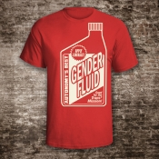 Gender Fluid Shirt. Unisex Red with Off White Ink