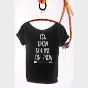 You Know Nothing Jon Snow Shirt Game of Thrones Off the Shoulder Slouchy