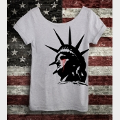 Lady Liberty Crying Women's Off the Shoulder Slouchy Tee