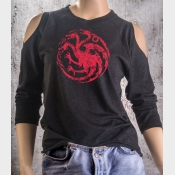 Cold Shoulder Targaryen Sigil Game of Thrones Women's Shirt 3/4 Sleeve