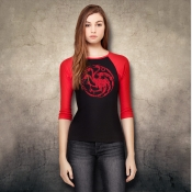 Targaryen Sigil Game of Thrones Women's Fitted 3/4 Sleeve Top in Red and Black.