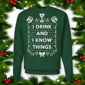 "Game of Thrones Ugly Christmas Sweater ""I Drink and I Know Things"" Crewneck Swea"