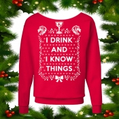 "Game of Thrones Ugly Christmas Sweater ""I Drink and I Know Things"" Slouchy Style"