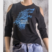 Cold Shoulder Shirt Winter Is Coming Game of Thrones Stark Direwolf Sigil