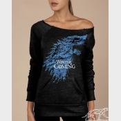 """Winter Is Coming Game of Thrones Women's Sweatshirt. """"Maniac"""" Off-The-Shoulder"""